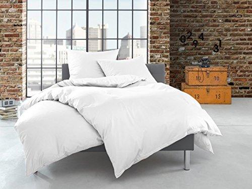Bettwaesche-mit-Stil Satin Bettwäsche-Garnitur einfarbig/uni weiß atmungsaktiv aus 100% Naturfasern Baumwolle inkl. Kissen (240 cm x 220 cm + 2x 80 x 80 cm)