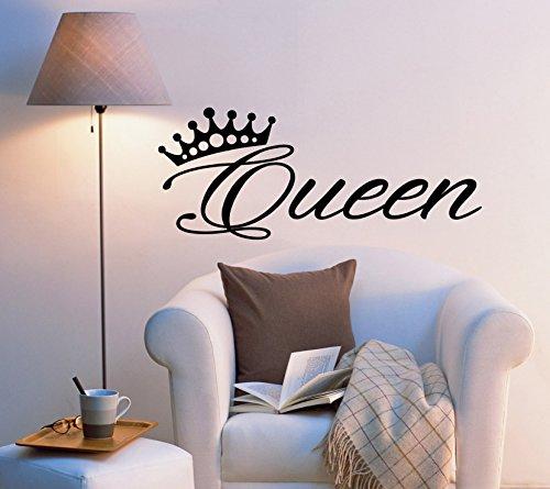 Vinyl Wall Decal Stickers Bedroom Decor Words Queen Inspiring Letters Crown 2033ig (22.5 in x 9 in)