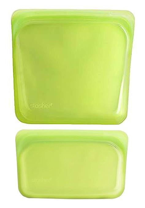 Stasher LI-SM&L-01 Bolsa de Silicona Reutilizable para Cocinar, Congelar, Almacenar y Viajar, 2 Unidades, Lima