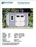 6' x 12' Deluxe Back Yard Storage Shed Project Plans, Modern Roof Style Design # D0612M