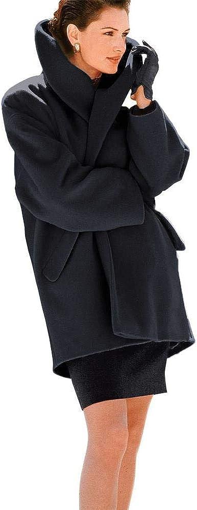BZB Women's Warm Loose Wool Coat Fashion Simple Shawl Collar Coat Casual Coat