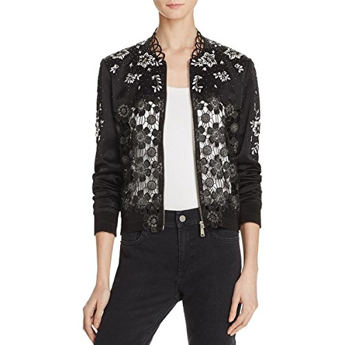 Elie Tahari Womens Brandy Metallic Silk Bomber Jacket B/W (Metallic Silk Suit)