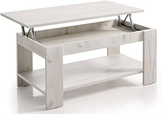 HOGAR24 ES Mesa de Centro Elevable con Revistero, Color Blanco Vintage. Medidas: 100x50x49/57: Amazon.es: Juguetes y juegos