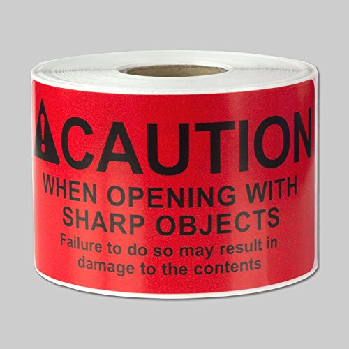 (Caution When Opening With Sharp Objects Labels Self Adhesive Stickers (Red Black / 4