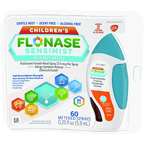 Children's Flonase Sensimist Allergy Relief Nasal Spray, Allergy Medicine Scent-Free Alcohol-Free Gentle Mist 24 Hour Non-Drowsy, 60 sprays