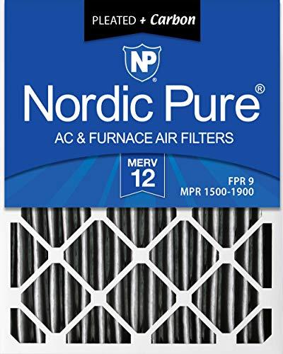 [해외]노르딕 퓨어 20x25x4 (3-58 실제 깊이) 주름 MERV 12 플러스 탄소 AC 용광로 공기 필터 상자 6 / Nordic Pure 20x25x4 (3-58 Actual Depth) Pleated MERV 12 Plus Carbon AC Furnace Air Filters Box of 6