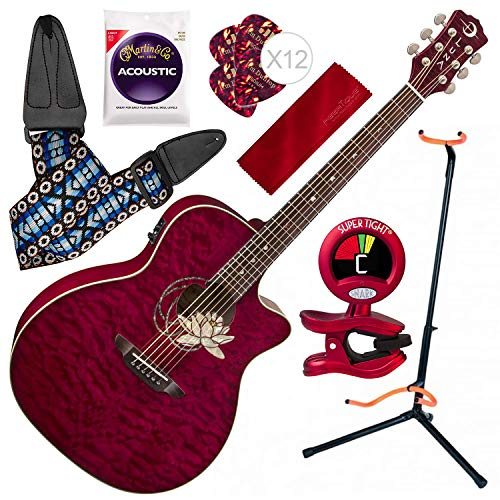 Luna Flora Series Lotus Quilted Maple Cutaway Acoustic-Electric Guitar with Professional Guitar Stand Basic Bundle