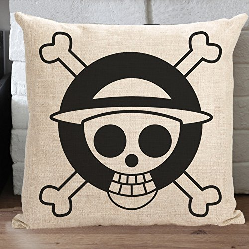 """MeMoreCool Japanese Animation One Piece Hat Skull Design on Both Sides Cotton Linen Square Decorative Throw Pillow Case Sofa Cushion Cover Anime Throw Pillow Sham Toss Pillow Case 18"""" x 18"""" - Uses for Sofa/Chair/Bed"""