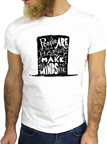 T SHIRT JODE Z1334 PEOPLE HAPPY MINDS BE HAT FUNNY COOL FASHION NICE GGG24 BIANCA - WHITE L