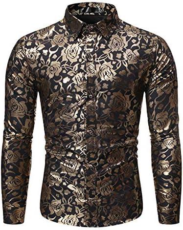 [MANMASTER(マンマスター)]長袖シャツ ワイシャツ 総柄 アメリカン メタリック ステージ衣装 メンズCXH346