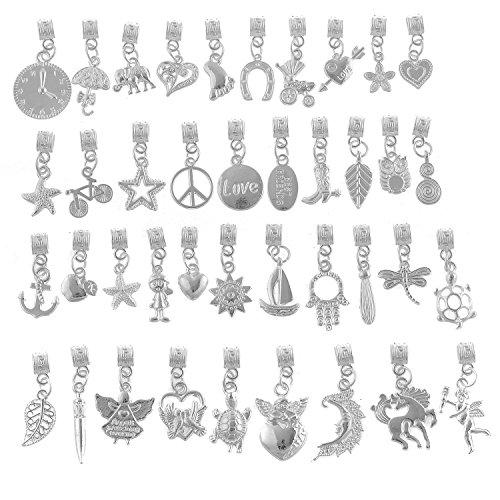 (RUBYCA 120Pcs Tibetan White Silver Plated Metal Connector Bails Mix Bead Pendant Charm Bracelet)