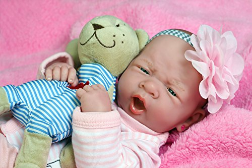 "My Cute Reborn Baby Girl Doll 14"" inches Preemie Newborn with Beautiful Accessories Anatomically Correct Washable Berenguer Real Realistic Soft Vinyl Alive Lifelike Pacifier (Cute Baby Girl Doll)"