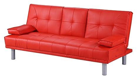 Divano Rosso Ecopelle : Dream magazzino manhattan divano letto in ecopelle rosso amazon