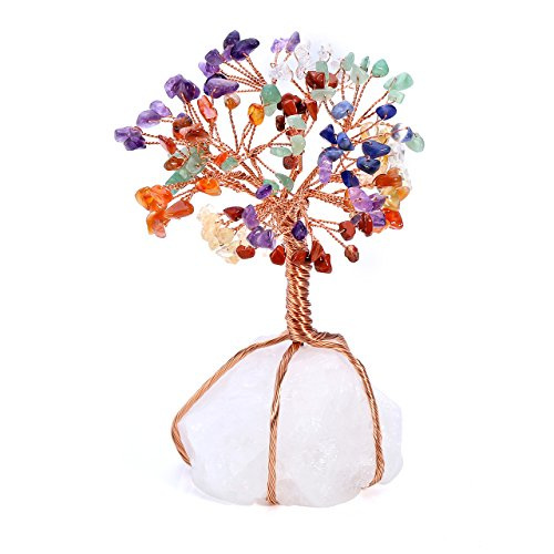 aling Crystals Money Tree Feng Shui Wealth Ornament Tumbled Stones Wire Wrapped Tree of Life Quartz Crystal Reiki Office Living Room Home Decoration Good Luck Health Figurine Gift ()