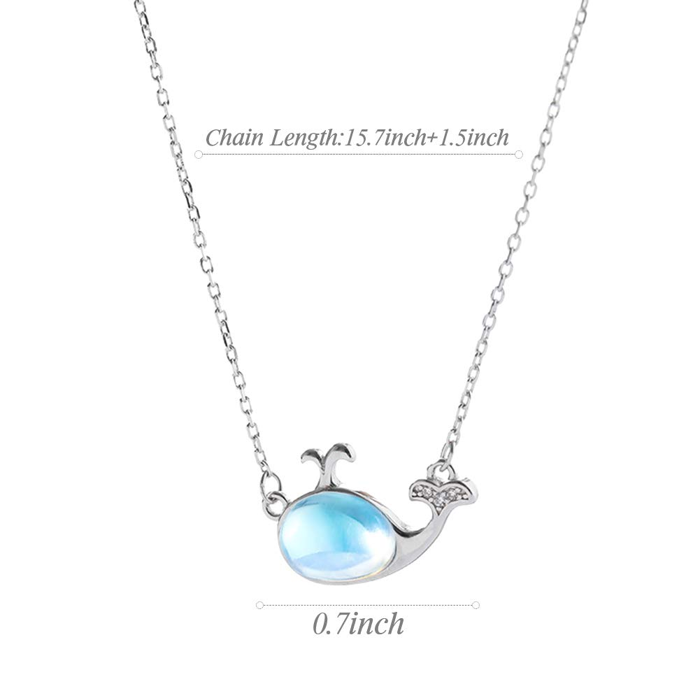 76th Birthday Gifts for Women Funny 76th Birthday Gifts for Women 925 Sterling Silver Womens Rainbow Moonstone Sterling Silver Dolphin Necklace 76 Year Old Birthday Gifts for Women