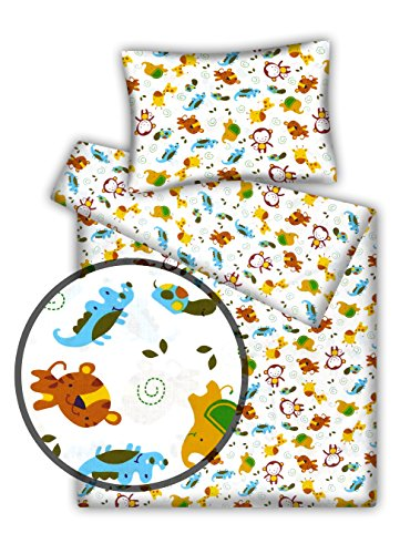 Kinderbettwäsche viele Designs 2-tlg. 100% Baumwolle 40x60 + 100x135 cm (Dschungel beige)