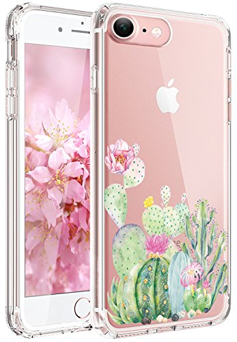 JAHOLAN Cute Girl Floral Design Clear TPU Soft Slim Flexible Silicone Cover Phone Case Compatible with iPhone 7 iPhone 8 - Green Cactus