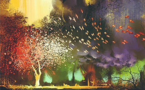 Mbwlkj 3D Bird Wallpaper Mystical Fantasy Flying Birds Trees Bedroom Wall Decor Wallpaper Design for Wall Wall Art Ideas for Bedroom Study-350Cmx245Cm