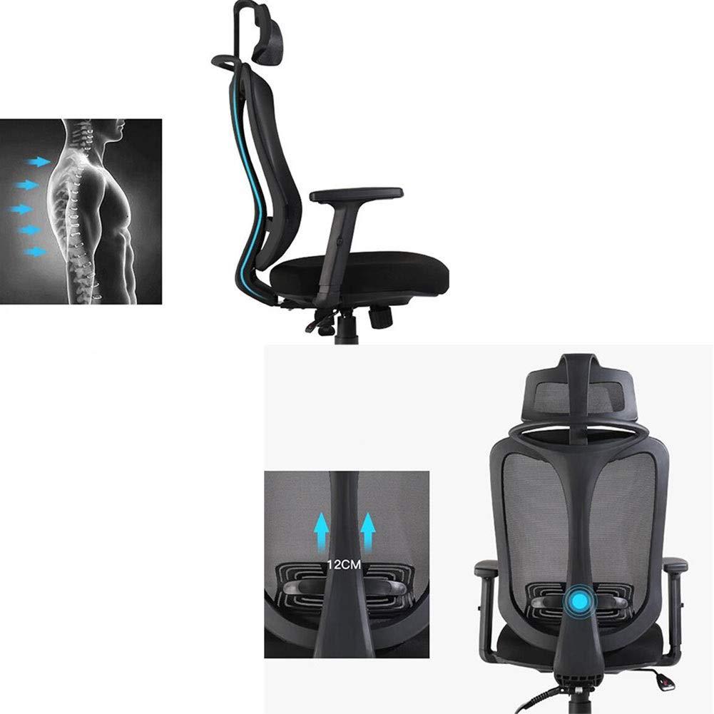 WYYY stolar kontorsstol ergonomisk svängbar nätstol lutning funktion justerbart nackstöd armstöd sitthöjd 45–53 cm hållbar stark (färg: svart) Svart
