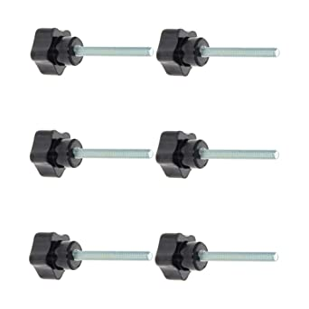 Star Knob Grip M10x40mm Male Thread  Steel Zinc Stud Black PP