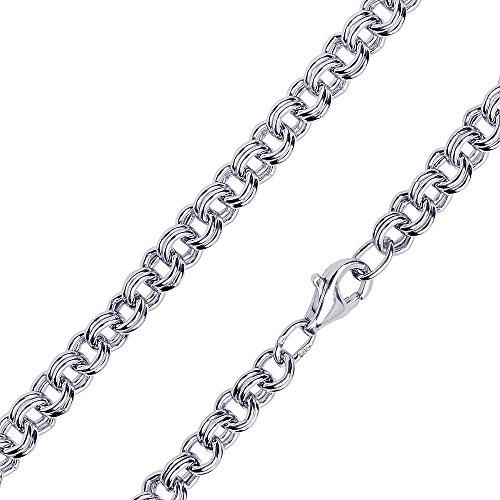 ce2fc967a57f MATERIA 4 mm ancla Gemelos cadena plata 925 rodio – Collar mujer hombre en  40 –