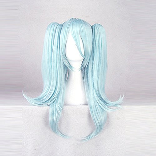 Akuma Costume Wig (Akuma no Riddle Hitsugi Kirigaya Blue Cosplay Wig Costume Hair Wig + 2 ponytails)