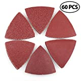 Hook and Loop Triangle Sandpaper Sanding Pads Sheets by LotFancy, 3-1/8 Inch, Assorted 40 60 80 120 180 240 Grits, Pack of 60
