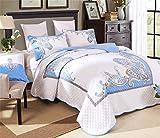 Auvoau Reversible Bohemian Real Patchwork Cotton Quilt Bedspread Set Boho Patchwork Quilt Set,Queen,3-Pieces (Queen, 1)