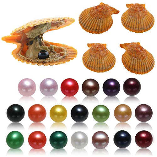 20PC Akoya Pearls Oysters, Saltwater Cultured Love Wish Red Oyster with Round Pearl Inside with 20 Different Color (7-8mm)