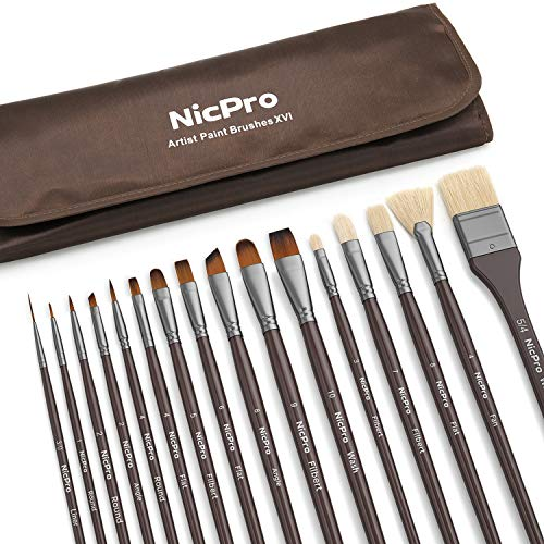 Nicpro Professional Paint Brushes for Acrylic Watercolor Oil Gouache Painting 16 PCS Art Brush Comb Long Handle Taklon & Hog Hair Round Filbert Angel Flat Brush with Carrying Travel ()