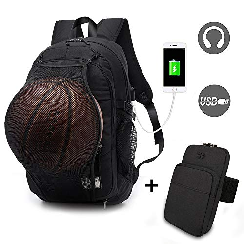Basketball Laptop Backpack for Boy Travel Business College School Computer Bag with USB Charging Port,Water Resistant for Women & Men Fits 15.6 inch (k Black Backpack+Arm Bag)