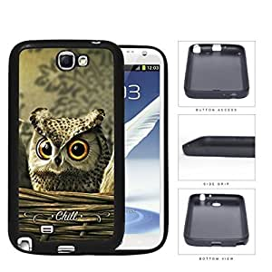 Cute Big Orange Eyes Brown Owl with CHILL Sign Samsung Galaxy Note II 2 N7100 Hard Silicone PC Cell Phone Case