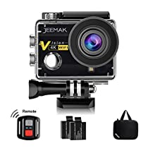 JEEMAK Action Camera 4K 20MP Ultra HD with WiFi 40m Waterproof Underwater Sports Camera Adjustable 170°Wide Angle 2 Rechargeable Batteries,Accessories KitCompatible with Gopro