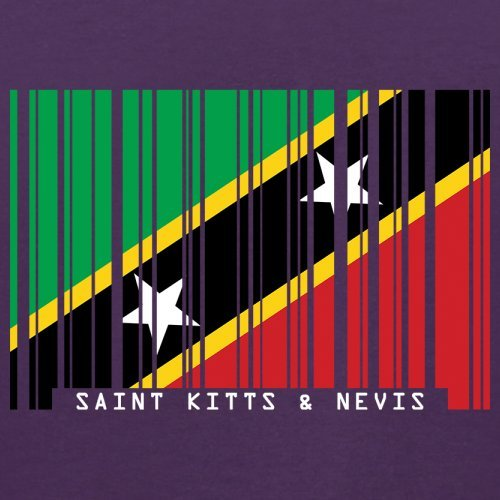 Saint Kitts and Nevis / St. Kitts und Nevis Barcode Flagge - Herren T-Shirt - Lila - XL