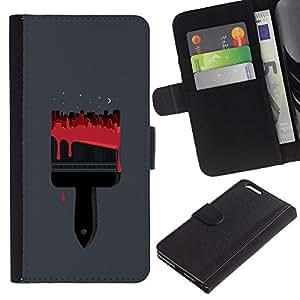 Paccase / Billetera de Cuero Caso del tirón Titular de la tarjeta Carcasa Funda para - Brush Red Blood Painter Grey - Apple Iphone 6 PLUS 5.5