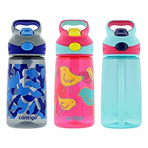 Contigo 14oz Autospout Striker Kids Water Bottle, Electric Blue Camo, Cherry Blossom Bird & Aqua Float (3 Pack)