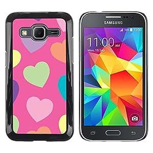 FlareStar Colour Printing Heart Green Pattern Orange Purple cáscara Funda Case Caso de plástico para Samsung Galaxy Core Prime / SM-G360