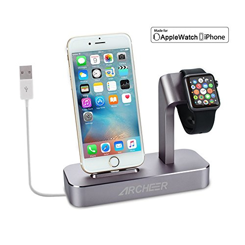 (Lightning cable Included) Archeer 2 in 1 Apple Watch Stand and iPhone Charging Dock Station Apple Charging Station for iPhone 7/6s/6s plus/6/6 plus/5s/5 and Apple Watch/Sport/Edition 38mm/42mm