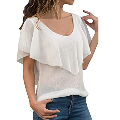 c56cf7e4eb6 Ularma 2019 Fashion Women Lady Spring Summer Chiffon Short Sleeve Backless  Daily Casual Lumbar Tops Blouse White at Amazon Women s Clothing store