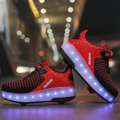 Junge M/ädchen Schuhe Kinderschuhe mit Rollen LED Leuchtend Heelys Doppelrad schuheltraleicht Outdoor Schuhe 7 Farbe Farbwechsel R/ädern Gymnastik Sneaker