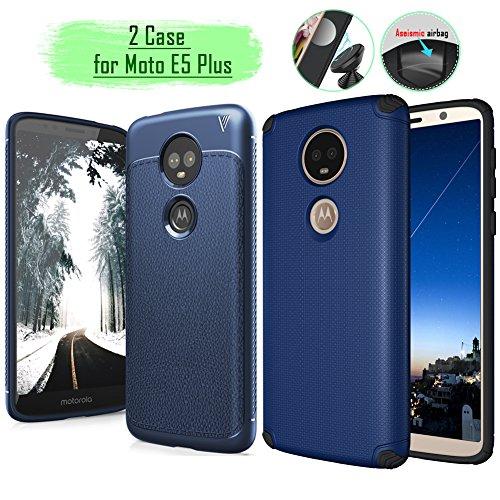 Moto E5 Plus Case,Rebex 2 pcs Cases Packed Anti-Fingerprint Built-in Magnetic Metal Plate Case,Flexible Soft TPU Thin Lightweight Slim Cover for Motorola Moto E5 Plus (Navy Blue)