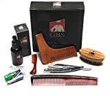 beard Ultimate Shape and Style Beard Grooming Kit- 7Piece- Unscented Beard Oil, Boar Bristle Brush, Template comb, Dressing Comb, Shavette Razor, Mustache Comb + 10 Blades!