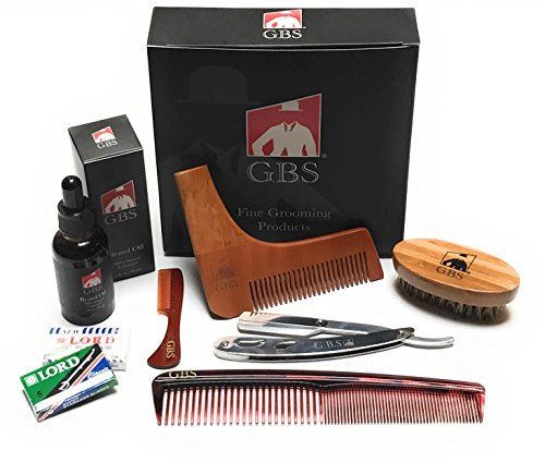 Ultimate Shape and Style Beard Grooming Kit- 7Piece- Unscented Beard Oil, Boar Bristle Brush, Template comb, Dressing Comb, Shavette Razor, Mustache Comb + 10 - Styles Beards