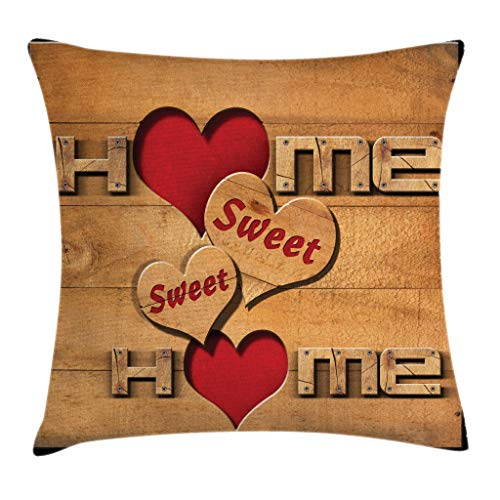 Ambesonne Home Sweet Home Throw Pillow Cushion Cover, Words with Heart Shapes on Wooden Planks Log Cabin Country House, Decorative Square Accent Pillow Case, 40 X 40 Inches, Pale Brown Red Black