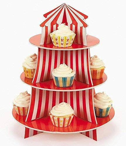 Big Top Circus Carnival 3 Tier Cupcake Holder Centerpiece Birthday Decorations (1) (2)