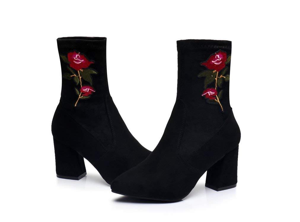 ZHRUI Chelsea Stiefel Stiefel Stiefel Damen Stickerei Blaumen Block Slip on schuhe (Farbe   Schwarz, Größe   EU 37) 82122b