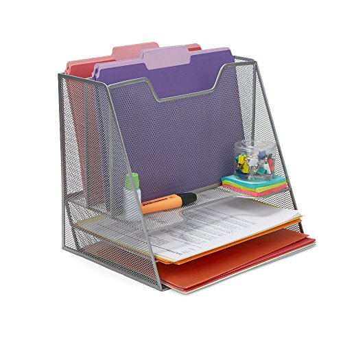 Mind Reader Mesh Desk Organizer 5 Trays Desktop Document Letter Tray for Folders, Mail, Stationary, Desk Accessories, Silver