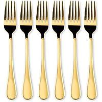 HOMQUEN Stainless Steel 6 Piece Dinner Forks (Gold, Dinner Fork)