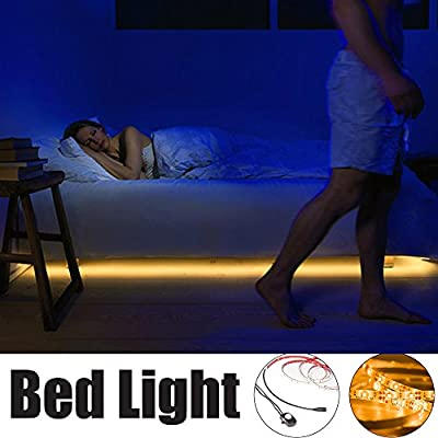 Motion Activated Bed Light,ALOTOA 59 Inch Bed Light Flexible LED Strip,Warm White Motion Sensor Night Light Bedside Lamp Illumination with Automatic Shut Off Timer (Single Strip / Twin Bed)
