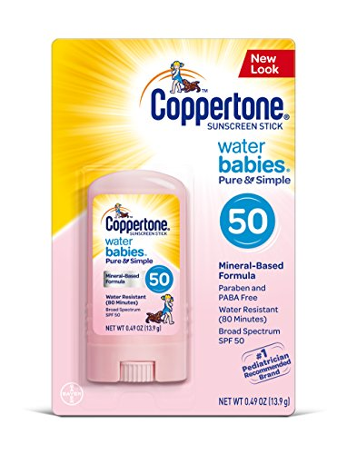 Fragrance Free Sunblock Stick (Coppertone WaterBABIES Sunscreen Pure & Simple Stick Broad Spectrum SPF 50, .49 Ounces)